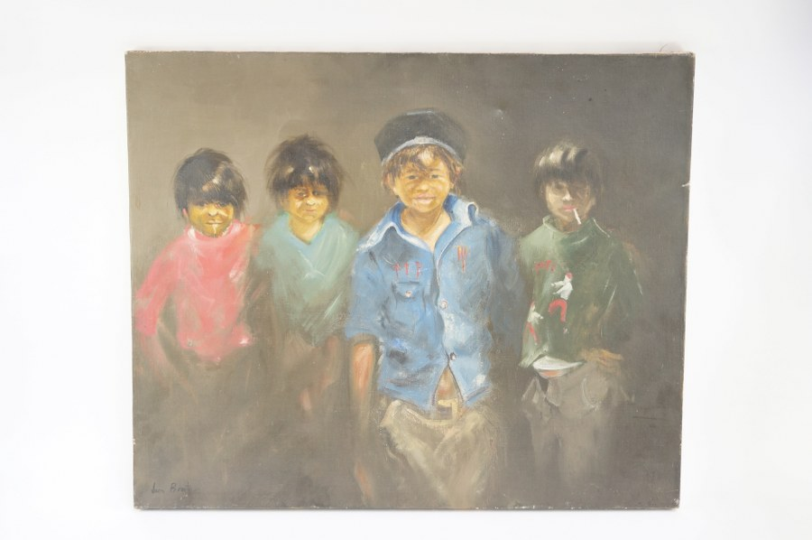 Huile sur toile. Signé Juan Benito. ''Les voyous''. Quelques enfoncements à la toile. 60x73 cm.