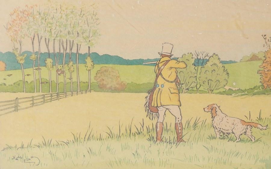 Harry ELIOTT. Gravure en couleur de scène de chasse. 36 x 48 cm.