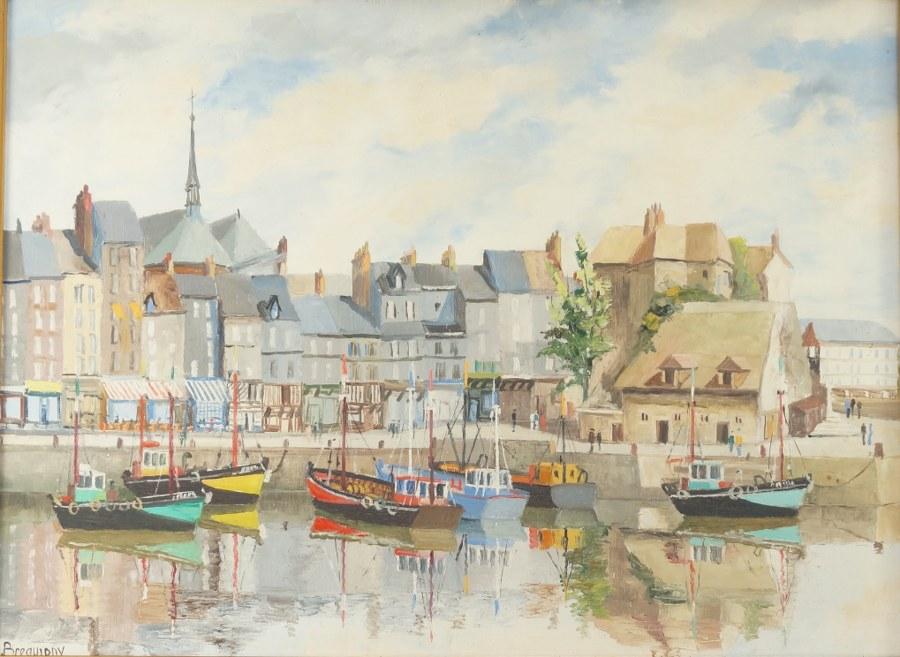 Huile sur toile encadrement doré. Signé Brequirny. Port de Honfleur. 66x85cm.