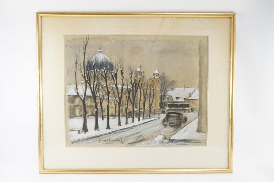 JEAN VINCENT. Vue de Caen sous la neige. Encadrement doré et sous verre. 68x83cm.