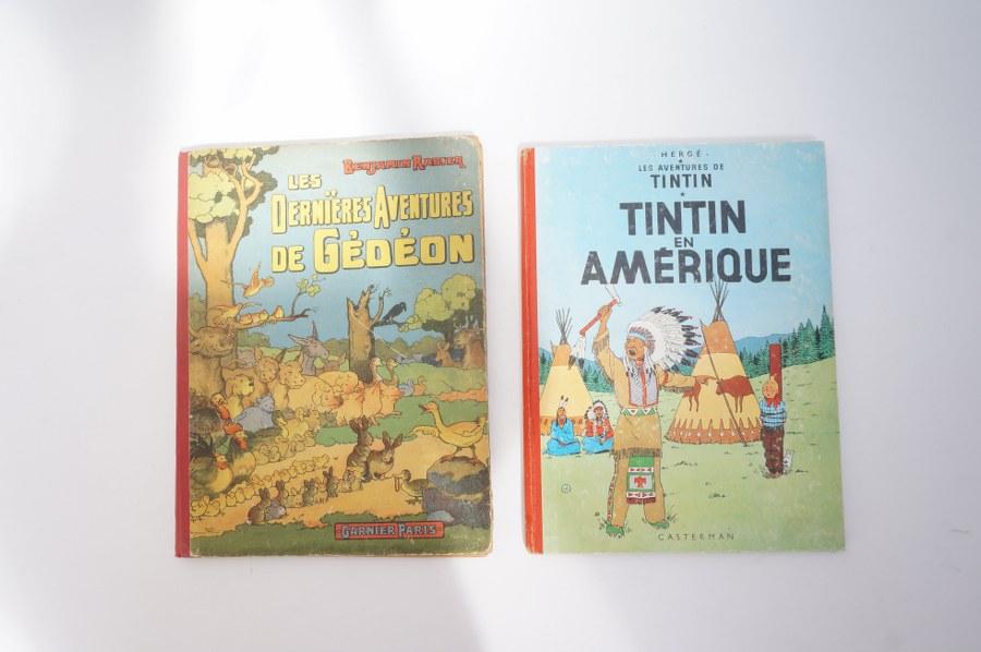 Tintin en Amérique. Edition Casterman. Etat moyen 1947. Les dernières aventures de Gédéon illustré par Benjamin Rabier. Mauvais état. 1948.