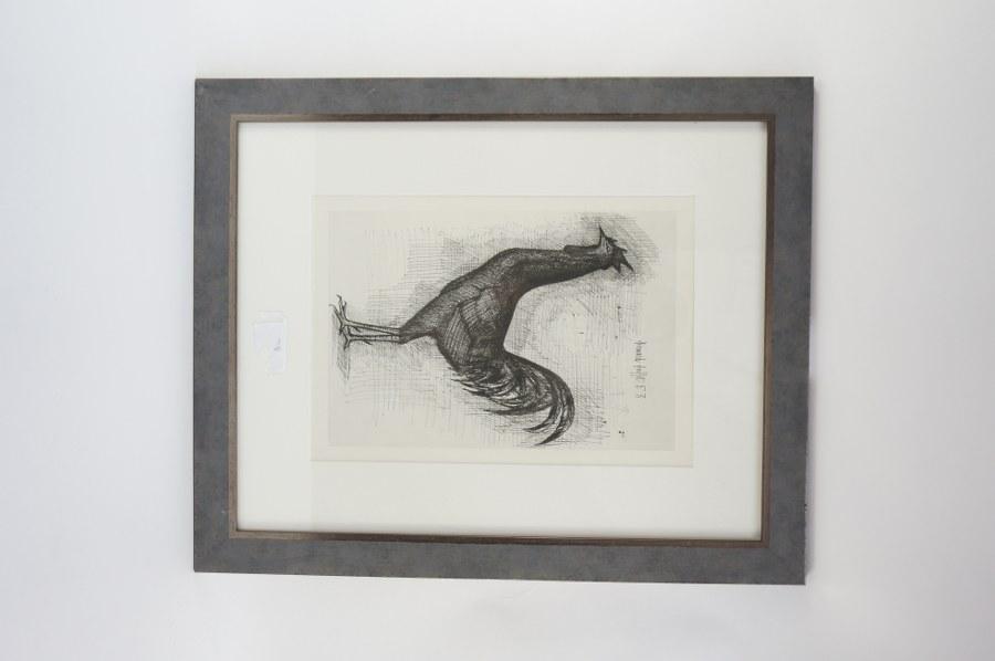 Bernard BUFFET (1928-1999). Le coq, 1953. Estampe signée et datée 53 dans la matrice en haut à droite. Vue : 40 x 27 cm.