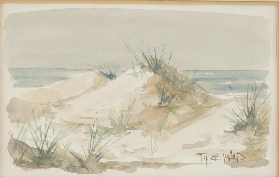 Aquarelle '' Les Dunes''. Signé en bas à droite. Sous verre. 39,5 x 50,5 cm.