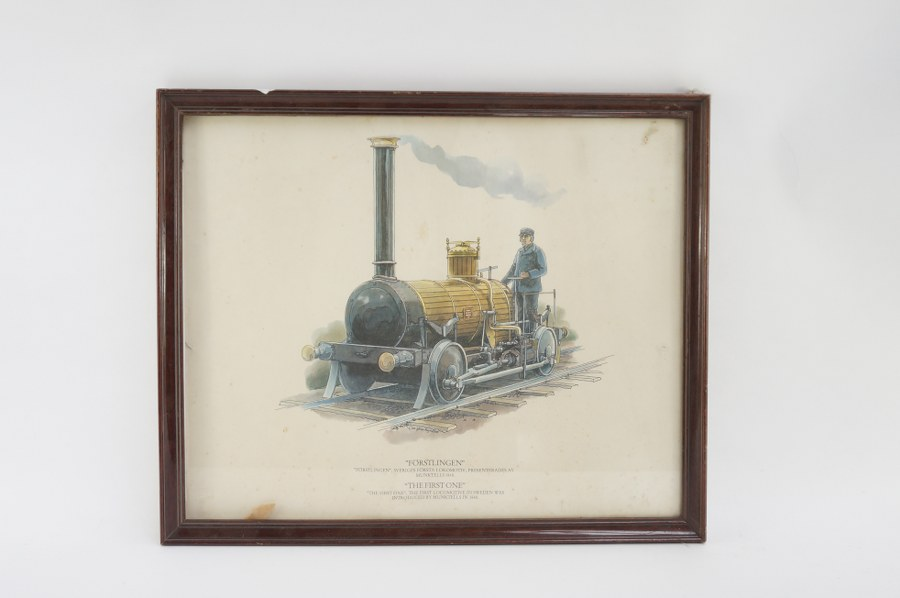 Gravure. Locomotive '' the first one''. Sous verre. 43x52cm.
