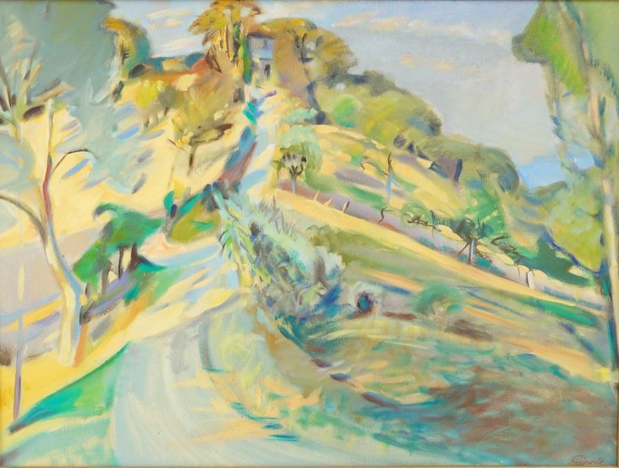 Bernard GINESTE (1948). La colline. Huile sur isorel signée en bas à droite. 46 x 61.5 cm.