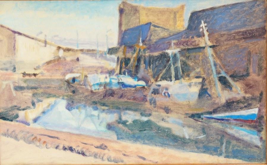 Bernard GINESTE (1948). Les voiliers dans le chenal. Huile sur isorel signée en bas à droite et datée 82. 29 x 47 cm.