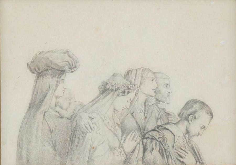 Dessin au crayon d'une scène de mariage ou de confirmation dans le goût Néo-Renaissance. Travail du XIXe ?. Dans un encadrement doré. 33 x 39 cm.