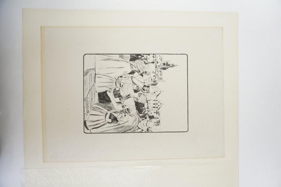 Fernand PIET (1869-1942). Un marché en Zélande. Epreuve d'état, avec cachet à sec de l'Estampe Moderne, signé et daté 98 dans la planche. Fin du XIXe siècle. Avec marges : 54 x 39,5 cm.
