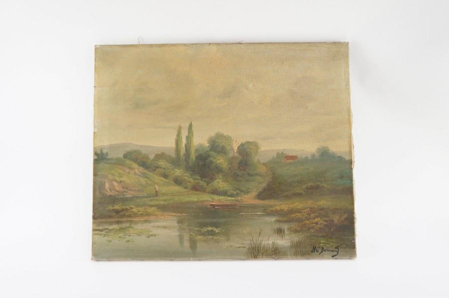 Huile sur toile. Paysage au bord de lac. Signé Bernard. 46x55cm.