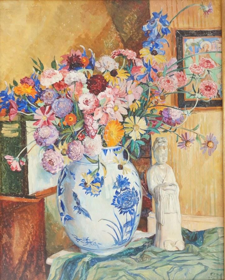 Ecole du XXème siècle. Bouquet à la guanyin, 1927. Huile sur toile signée et datée en bas à droite. 80 x 64 cm.