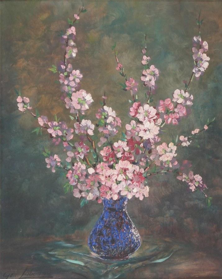 Geo LABONNE. Bouquet de fleurs. Huile sur toile.