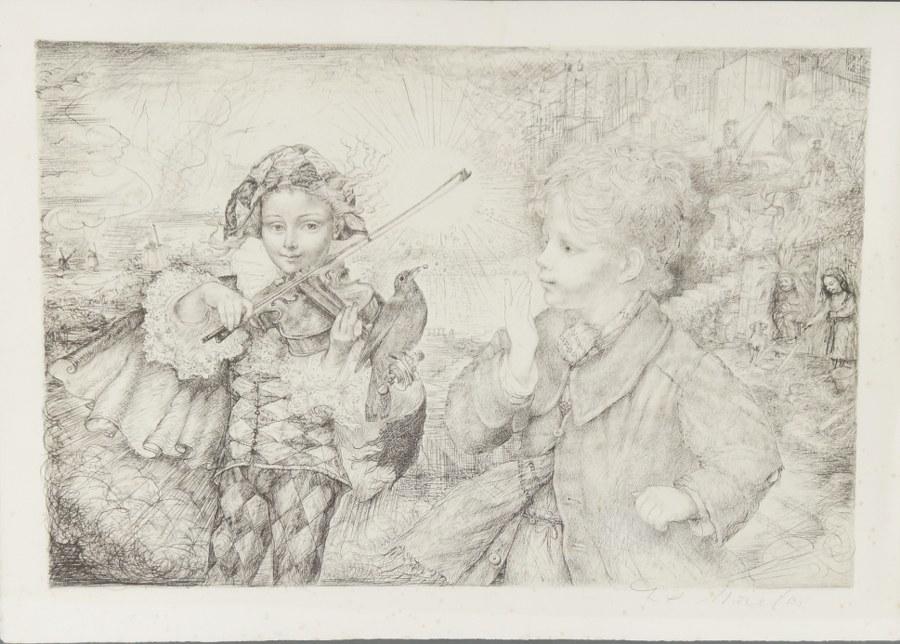 D'après Raymond MORETTI (1931-2005). Enfants au violon et à l'oiseau. Lithographie signée au crayon dans la marge. 37,5 x 57 cm.