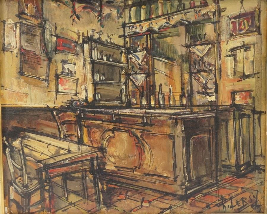 Roger LERSY (1920-2004). Vue de bistrot. Huile sur toile signée datée 55. Milieu XXe. 39 x 47 cm.
