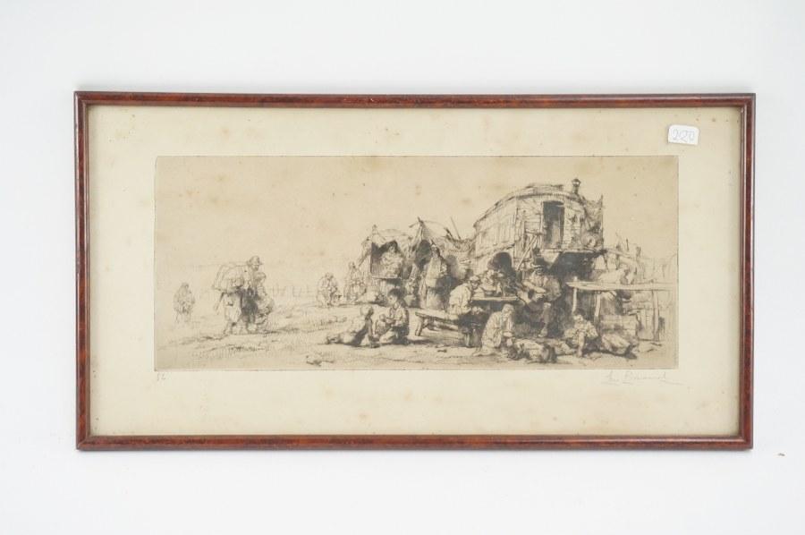 Eau-forte numérotée ''Caravane bohémiens'' signée au crayon en bas à droite. 22 x 42 cm.