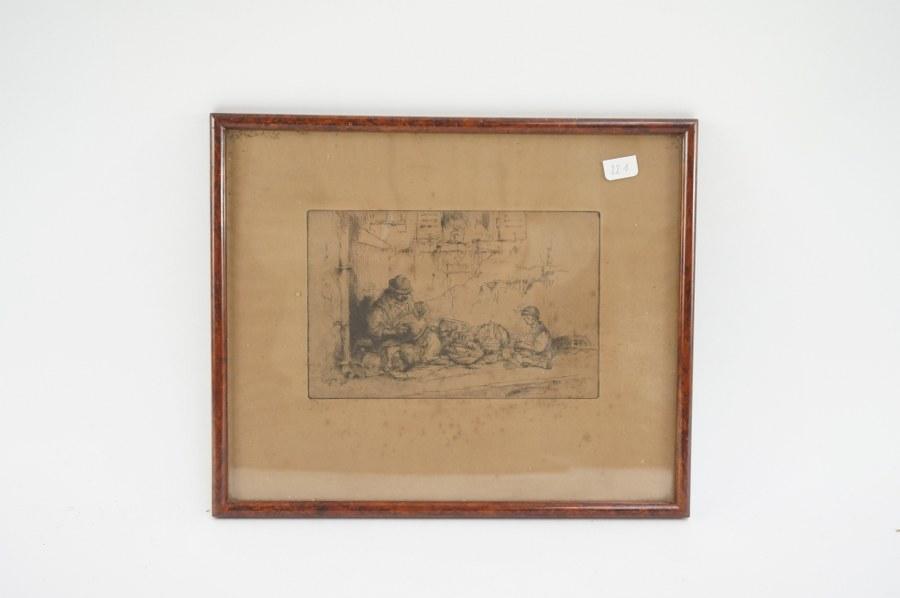 Eau-forte numérotée signée au crayon sous verre ''Vendeur de vaisselle'' 22 x 26,5 cm.