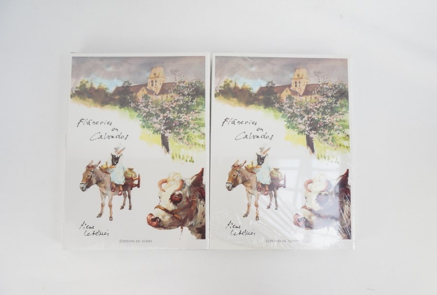 Pierre LETELLIER (1928-2000). 2 volumes ''flâneries en calvados''.
