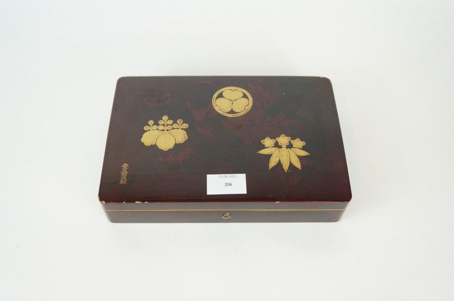 Boîte en laque japonais. XIXe - XXe siècle. Accidents.