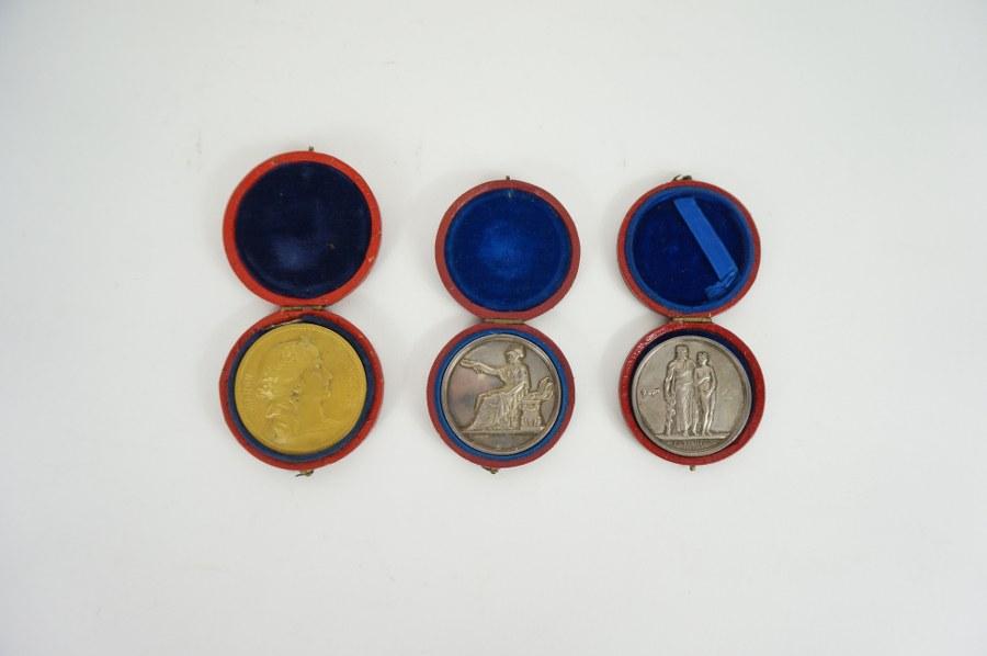 Lot de trois médailles républicaines en bronze dans leurs écrins, l'une récompensant un médecin avec une allégorie de la vaccine. XIXe siècle.