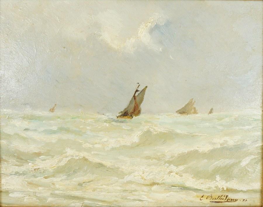 E. BARTHELEMY (?). Marine représentant des voiliers en mer. Huile sur panneau. XIXe siècle. 27 x 33 cm (cadre).