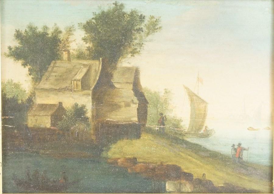 École française du XIXe siècle. Côte habitée. Huile sur panneau. 22,5 x 27,5 cm (cadre).