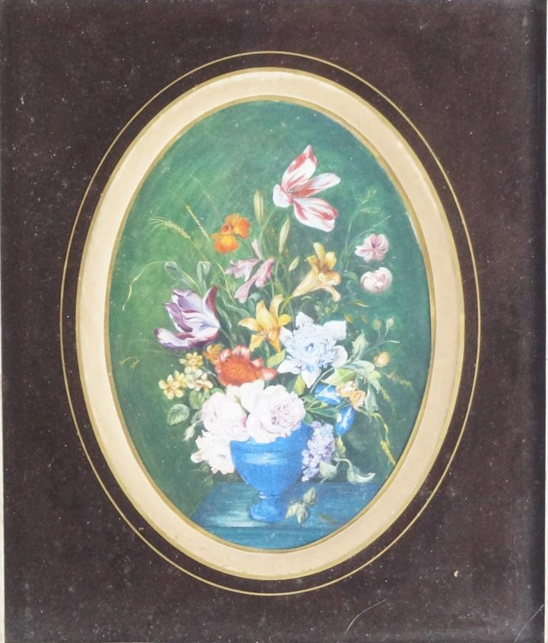 Lot de deux pièces encadrées : Paysage, huile sur panneau signée E MONROY datée 57 et nature morte au bouquet, gouache sur papier sous verre. Cadres : 32 x 37 et 39 x 34 cm.