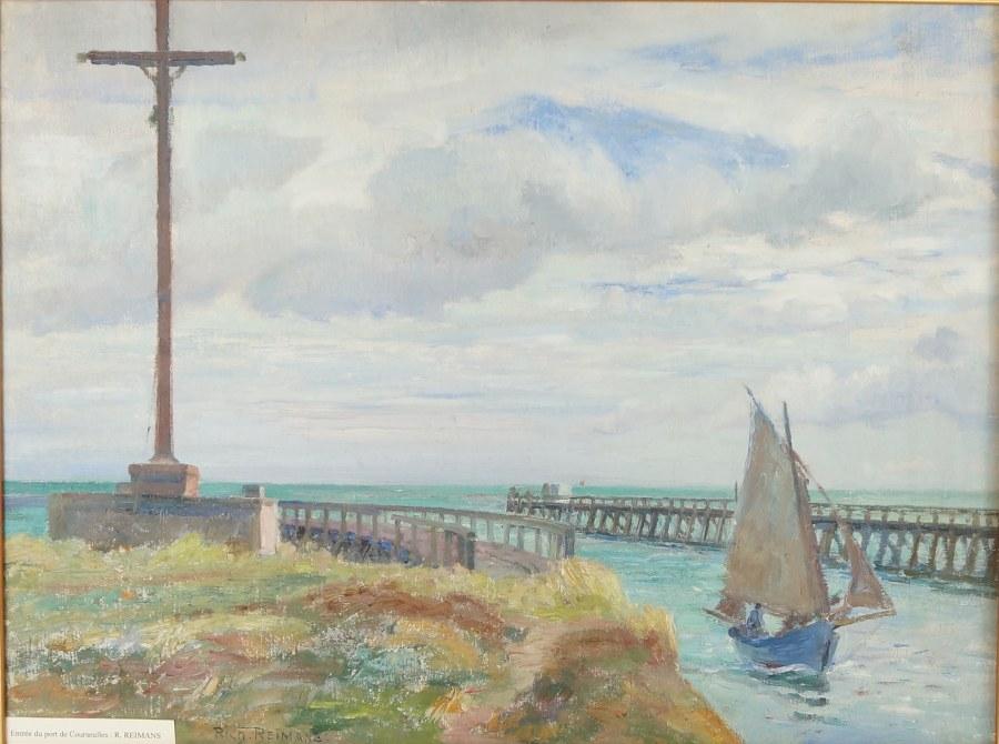 Richard REIMANS (1882-1959). Paire de marine représentant l'Entrée du port de Courseulles et le Chenal de Courseulles. Huiles sur toile signées en bas et contre-signées au dos au crayon. Première moitié du XXe siècle. 60 x 75 et 75 x 64 (cadres).