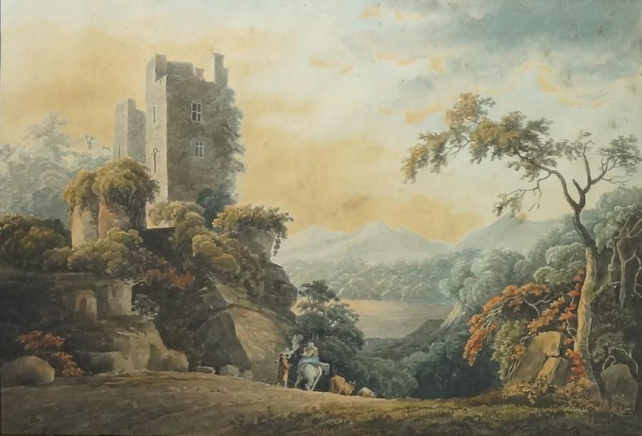 Lot de deux aquarelles encadrées sous verre représentant des paysages animés. XIXe siècle. 44 x 56 cm.
