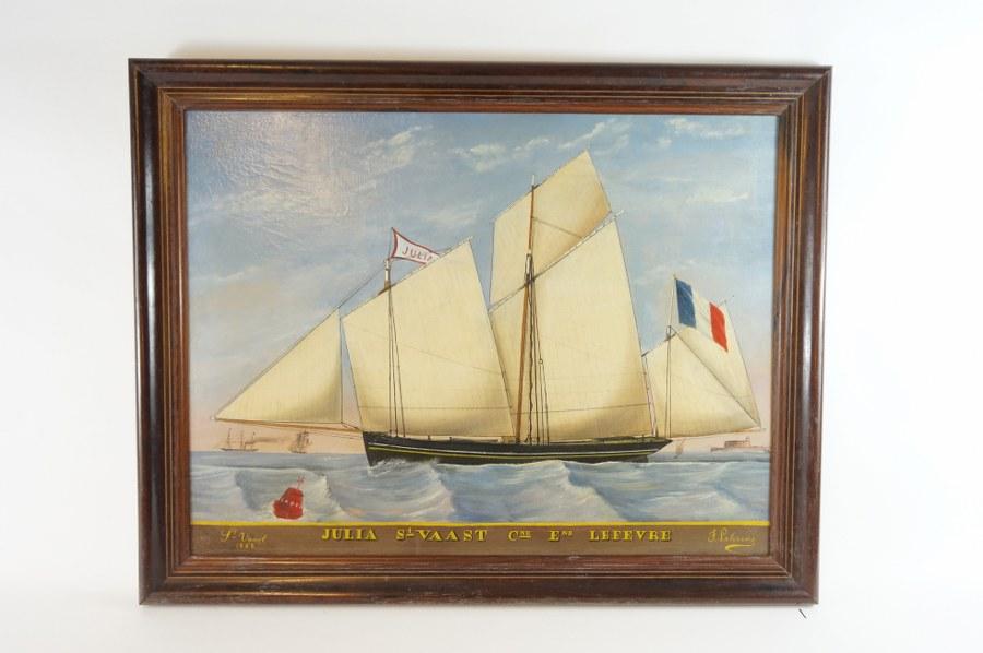 J. LETERRIER (XIXe). Marine représentant le navire Julia de Saint-Vaast. Huile sur toile signée datée 1868. 62 x 79 cm. Petit accident à la toile. Restauration et rentoilage.