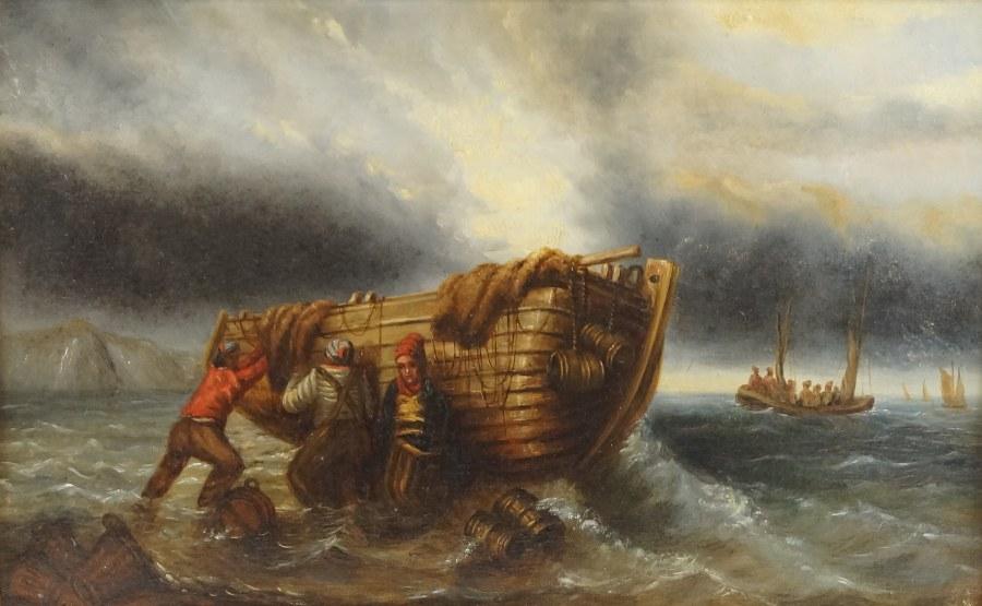 École française du XIXe siècle. Marins poussant un canot. Huile sur toile. 52 x 75 cm. Rentoilage.