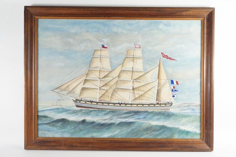 École française de la fin du XIXe - Début du XXe siècle. Le cap-hornier Alexandre, navire de Mr. BORDES fils. Gouache sur papier encadrée sous verre. 63 x 83,5 cm. Trois vaisseaux portèrent ce nom, le premier étant un trois mâts barque en fer construit en 1869 à Glasgow. Vendu à Gênes en 1901, il est renommé l'Inclita avant de disparaître en 1911.