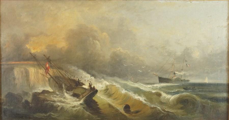 École de la fin du XIXe siècle. Naufrage contre des récifs. Huile sur toile signée en bas à gauche (BOM… ?) daté 87. 79 x 49 cm. Rentoilage.