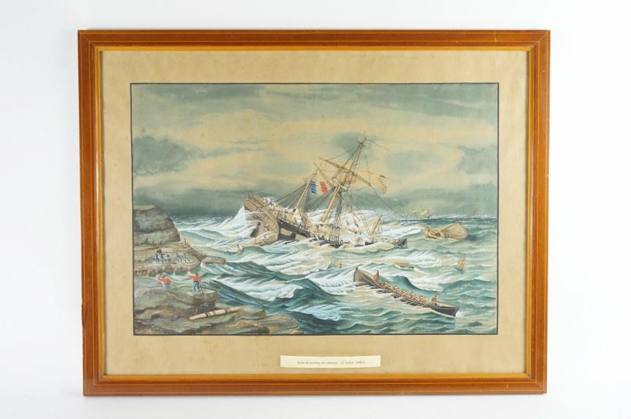 E. LEFORT (XIXe). Scène de naufrage du capitaine E. LEFORT. Gouache sur papier encadrée sous verre signée en bas à droite et datée 1880. 55 x 70 cm (cadre).
