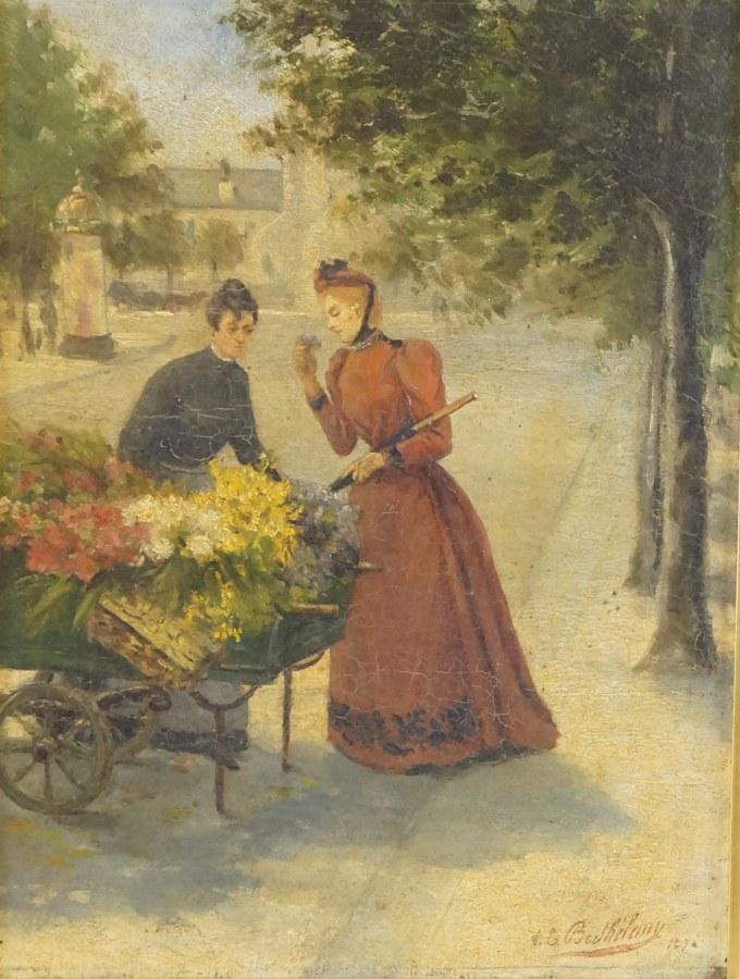 V.E. BARTHELEMY (XIXe). La marchande de fleurs. 1875. Huile sur toile signée en bas à gauche daté 1875 (?). 38 x 46,5 cm (cadre). Restaurations, petit accident.