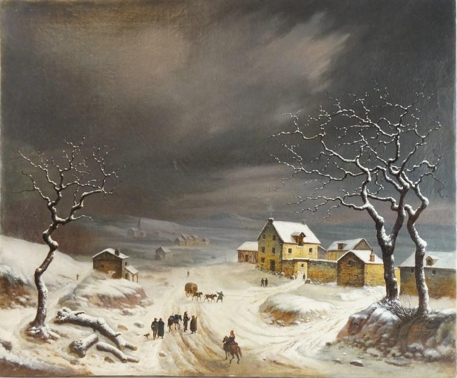 Alphonse CABARI (?). Vue de village sous la neige. 1834. Huile sur toile signée et datée en bas à droite. 54 x 65 cm. Restaurations, petit accident.