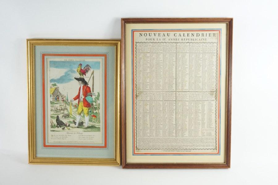 Lot de deux estampes révolutionnaires en couleurs, encadrées sous verre : Nouveau Calendrier de la IIe Année Républicaine. L'homme de village, né pour la peine, gravure protestataire dénonçant la condition paysanne. 38 x 51 cm et 44 x 33 cm (cadres).