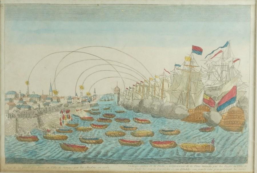 Vue de la prise du fort et ville de Havane par les anglais en 1762. Estampe en couleurs. XVIIIe siècle. 46 x 58 cm (cadre).