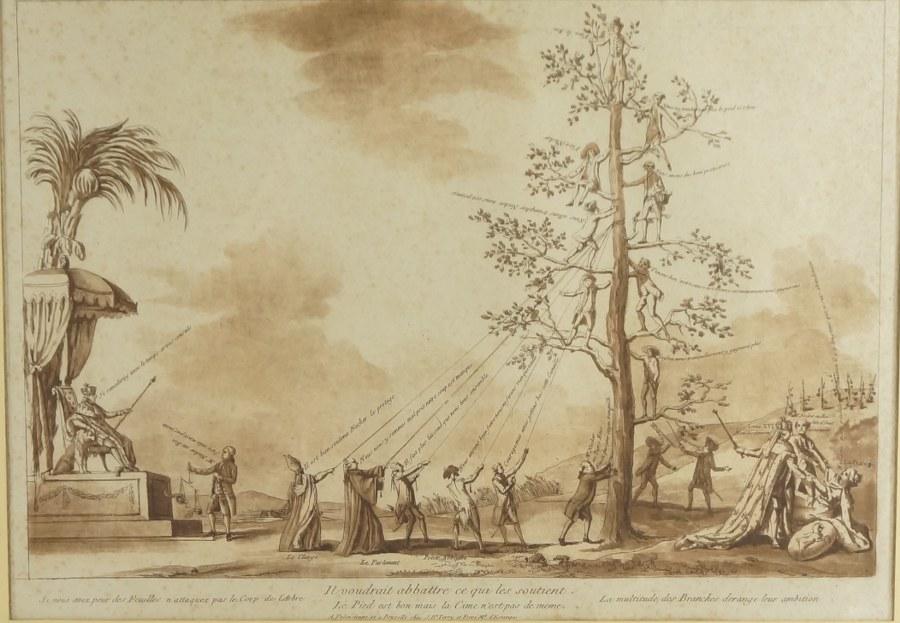Le Pied est bon mais la Cime n'est pas de même : estampe polémique contre le gouvernement de Louis XVI. Fin du XVIIIe siècle. 52 x 61 cm (cadre).
