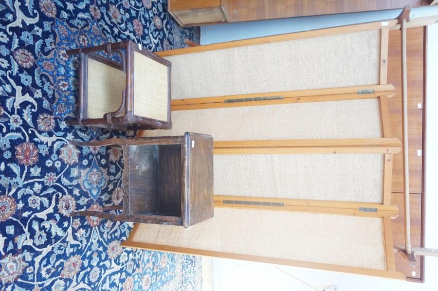 Bout de canapé en rotin, paravent, chevet et 6 chaises paillées. Frais judiciaires réduits à 14,28 % TTC.