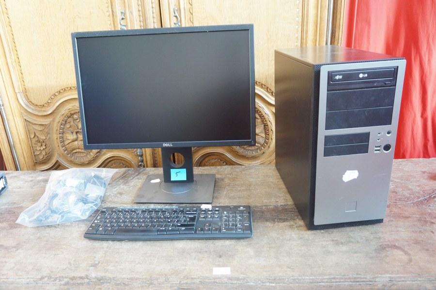 Une unité centrale en tour LG, un écran DELL, un clavier LOGITECH, câblage fourni mais non certifié complet. Frais judiciaires réduits à 14,28 % TTC.