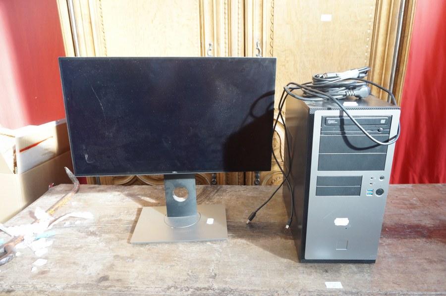 Une unité centrale en tour SUPERWRITE MASTER, un écran DELL, câblage fourni mais non certifié complet. Frais judiciaires réduits à 14,28 % TTC.
