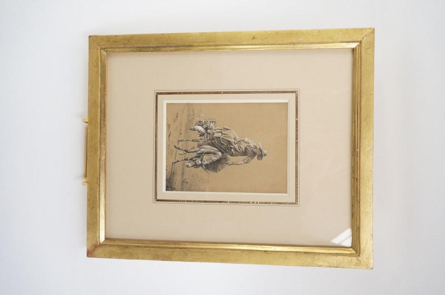 François BELLAY (1787-1854), d'après. Une paysanne sur son âne allant au marché. Pierre noire et rehauts de gouache blanche. Environ 160 x 11,8 cm.