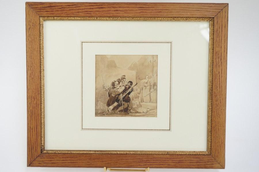 Eugène Louis LAMI (1800-1890), attribué à. Scène de discorde face à un religieux. Crayon et lavis d'encre. XIXe siècle. Vue : 11,6 x 11,3 cm.
