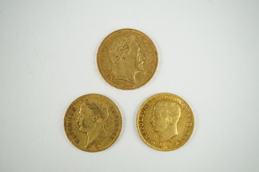 Pièce de 40 lires or, pièce de 40 francs or, pièce de 50 francs or.