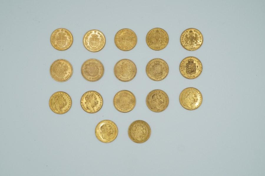 Trois pièces de 20 Lires or, cinq pièces de 5 Roubles or, neuf pièces de 20 francs Hongrie.