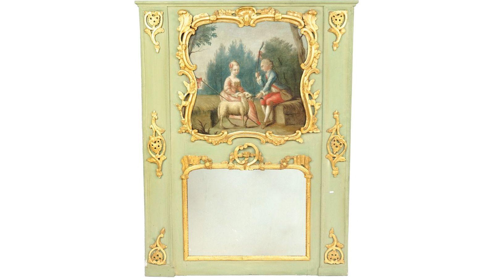 Trumeau représentant l'Enlèvement d'Europe par Zeus métamorphosé en taureau.