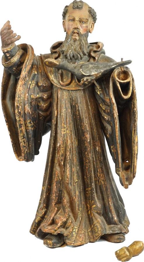 Saint Benoît de Nursie en bois sculpté en ronde-bosse, polychromé et doré.