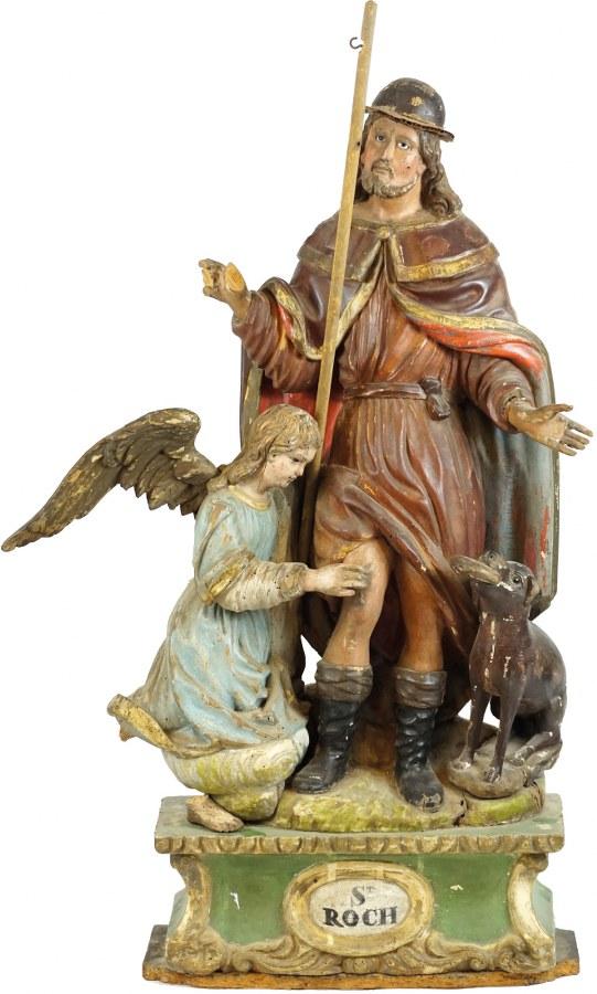 Saint Roch en bois sculpté, polychromé et doré, yeux en verre.