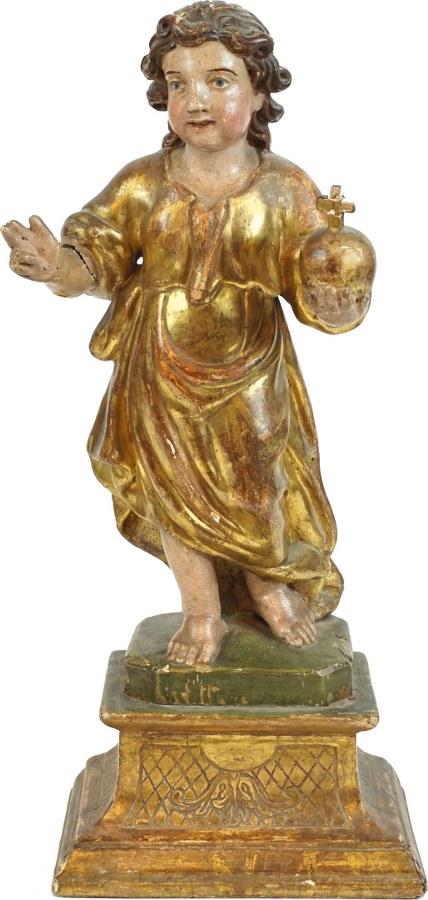 Enfant Jésus en bois sculpté en ronde-bosse, polychromé et doré.